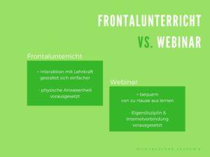 Klassischer Frontalunterricht oder doch lieber modernes Webinar?